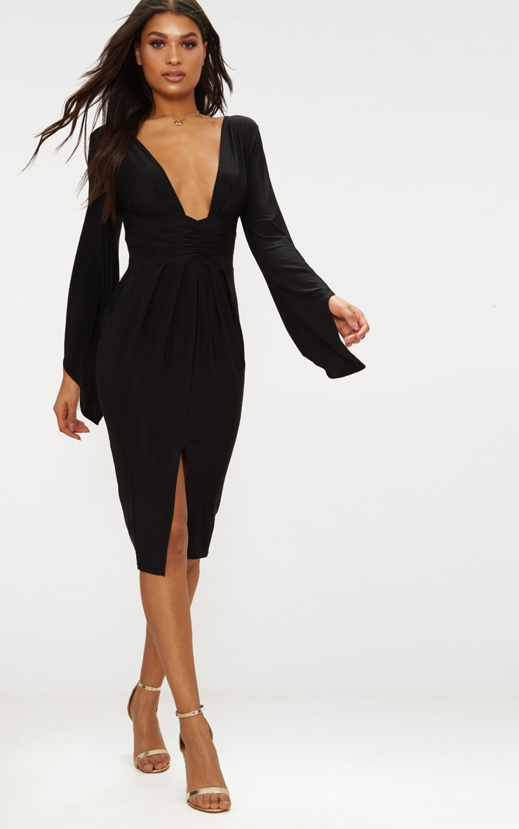 Black Flare Sleeve Ruched Panel Midi Dress 1