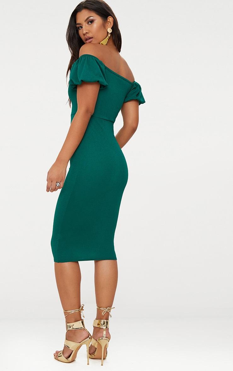 Emerald Green Balloon Sleeve Bardot Midi Dress 2