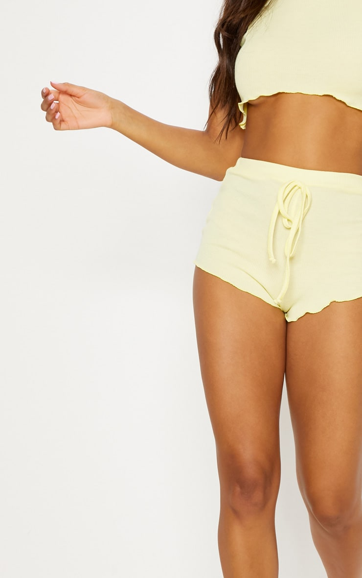 Lemon Ribbed Frill Edge Short PJ Set 6