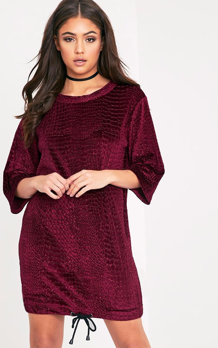 Isabelle Berry Animal Embossed Velvet Jumper Dress 1