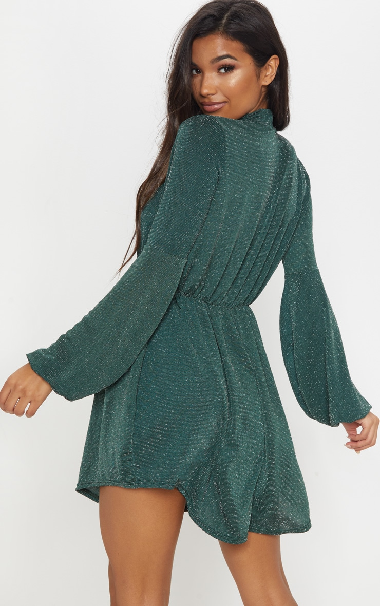 Green Glitter Balloon Sleeve Tie Waist Skater Dress 2
