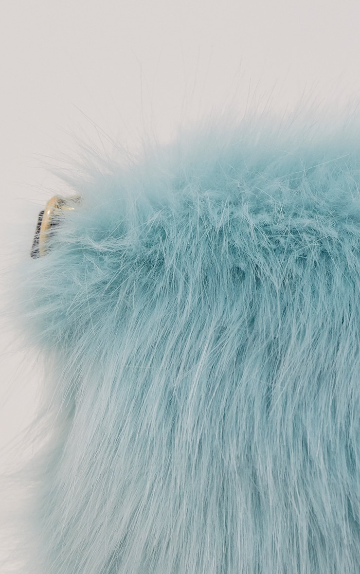 Kylah Ice Blue Faux Fur Clutch Bag 4