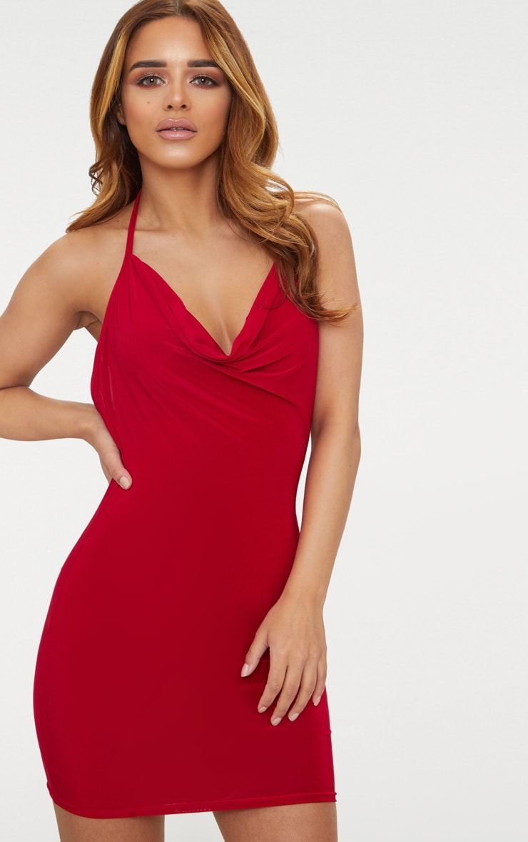 Petite Red Slinky Cowl Neck Bodycon Dress 2