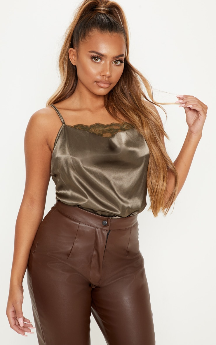 Khaki Lace Trim Cowl Satin Cami Top 1
