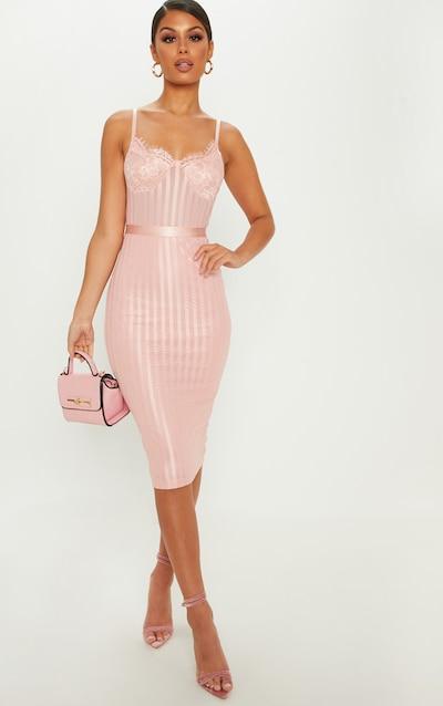 Dusty Pink Lace Detail Striped Mesh Midi Dress