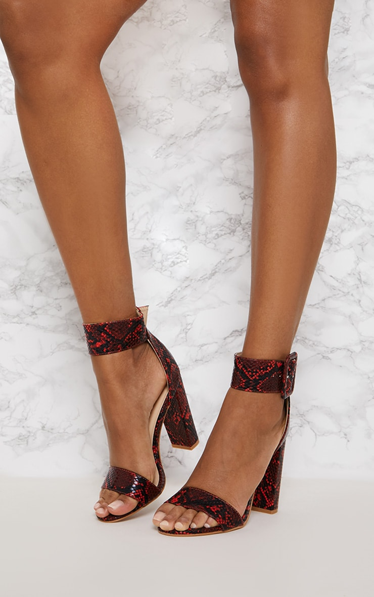 Red Faux Snake Ankle Buckle Block Heel 2