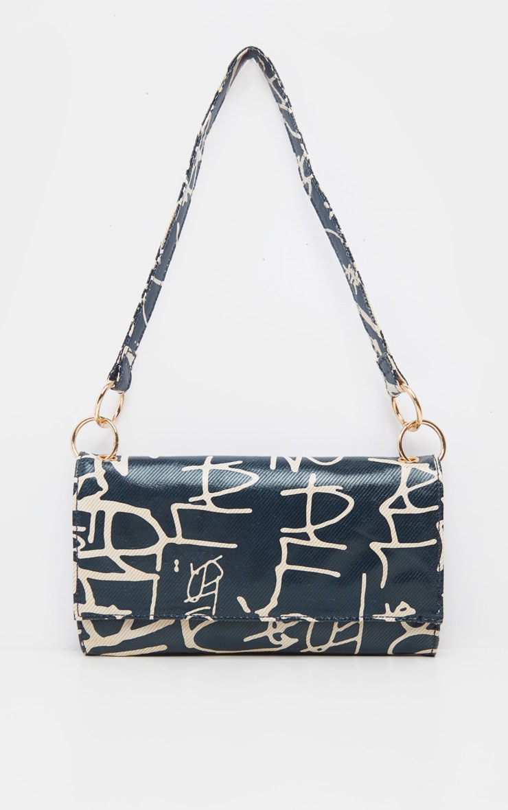 Black Script Print Shoulder Bag 3