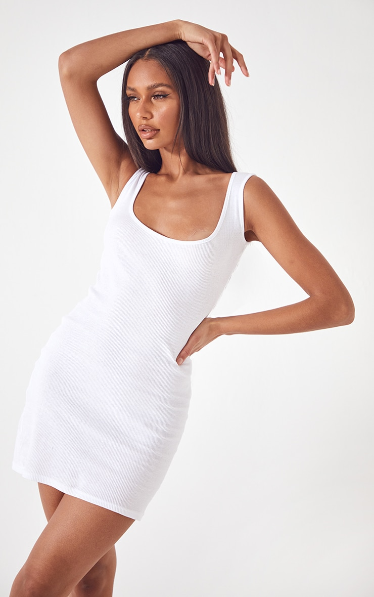 Basic White Cotton Blend Ribbed Scoop Neck Bodycon Dress 1