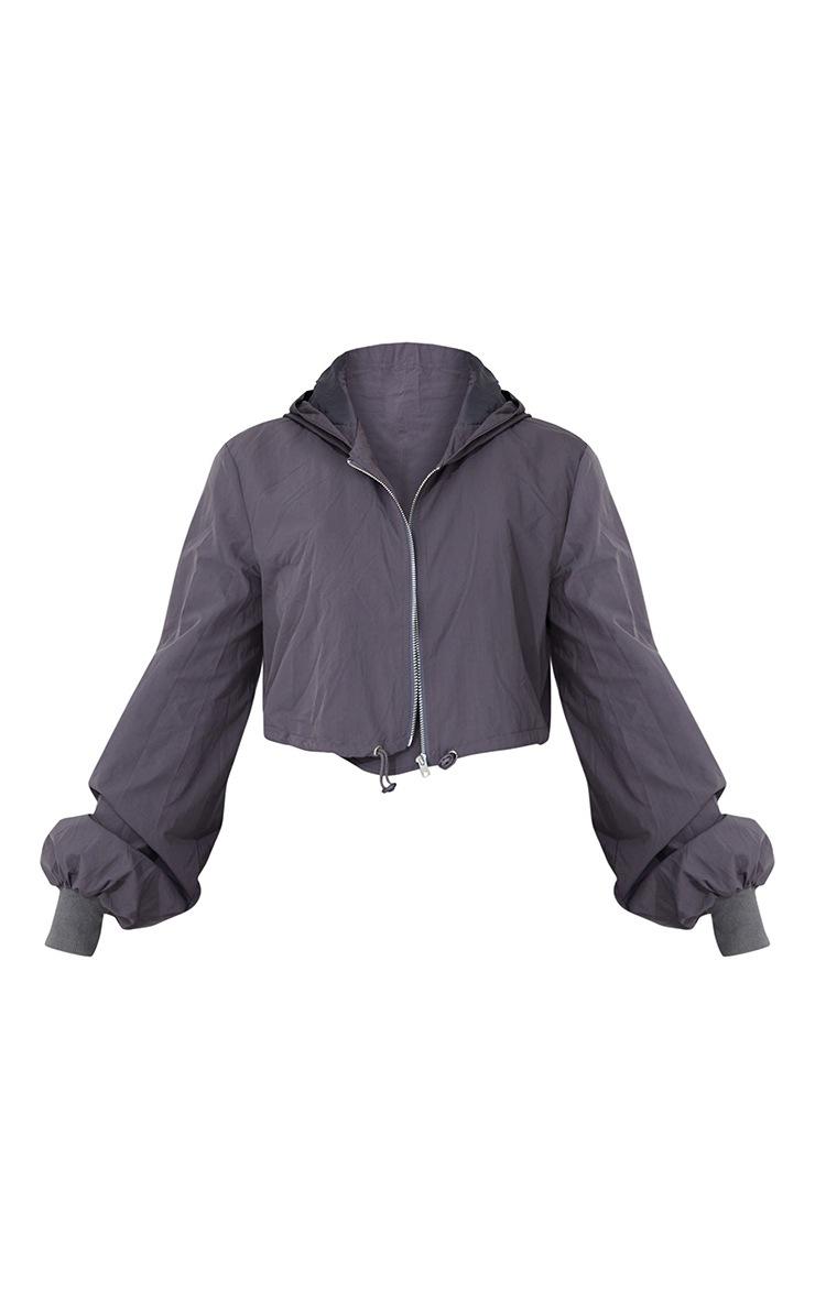Grey Oversized Zip Up Cropped Hooded Jacket 5