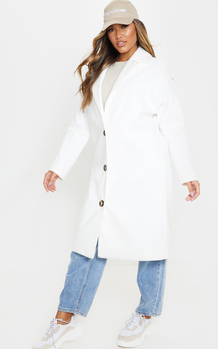 Cream Boyfriend Oversized Midi Coat 4