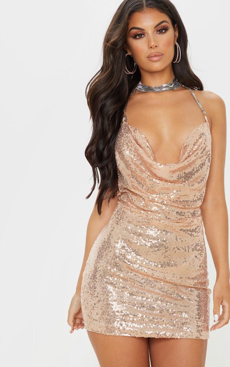 Rose Gold Sequin Chain Choker Mini Dress  5