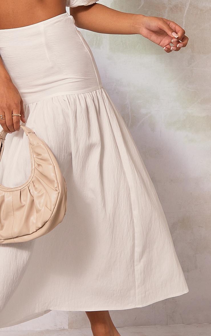 White Woven Tiered Panel Midi Skirt 4