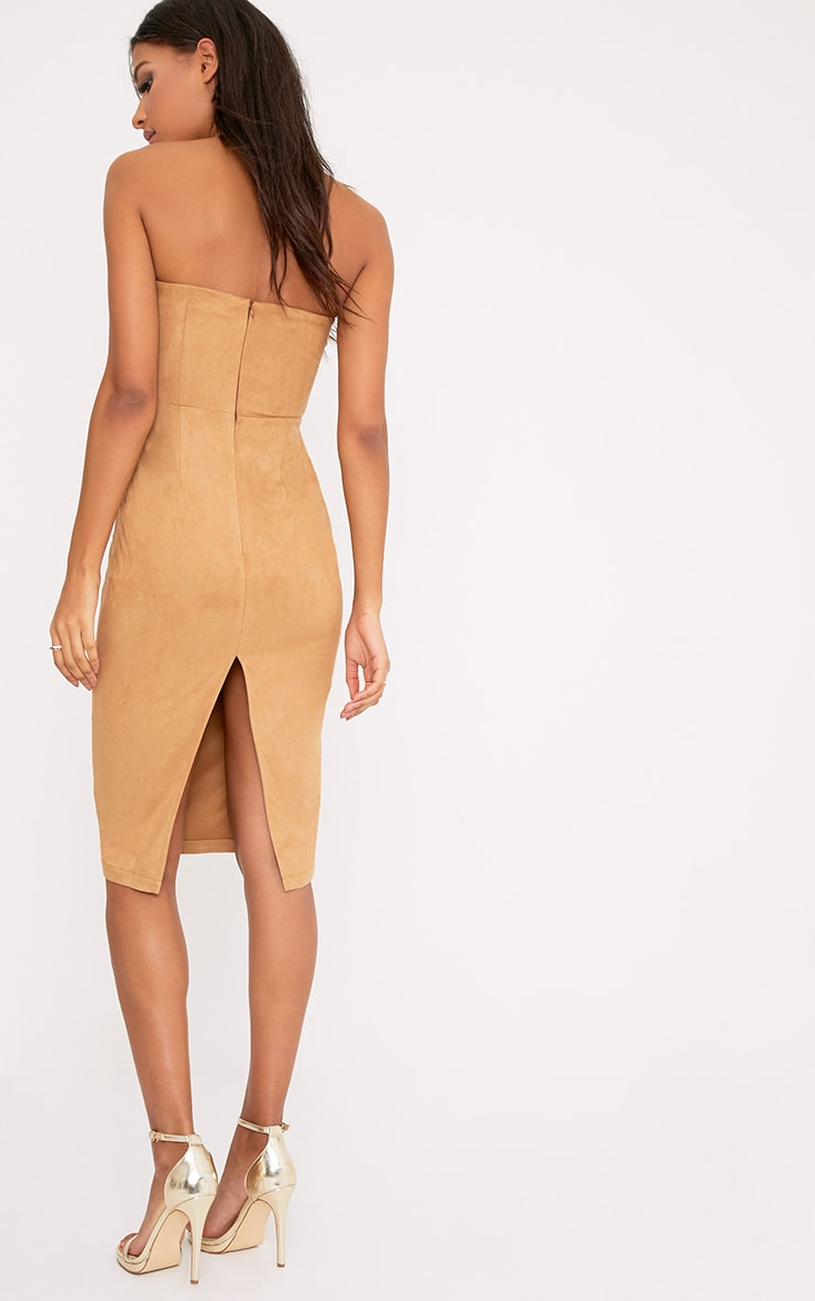 Kiya Tan Faux Suede Bandeau Midi Dress 2