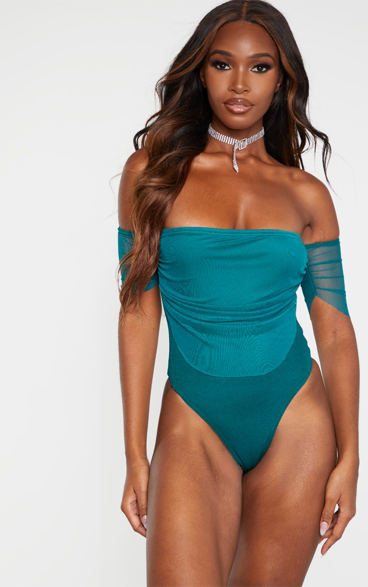 Emerald Green Mesh Ruched Bardot Bodysuit 2