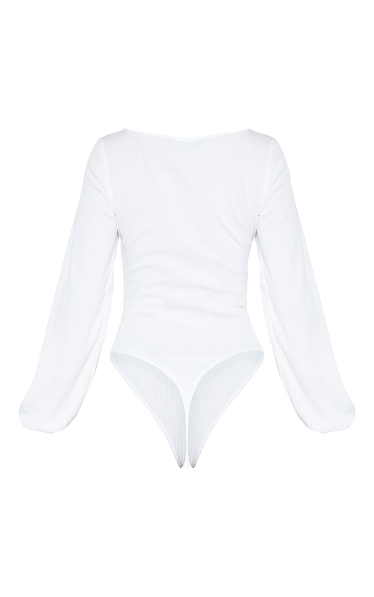 Tall Cream Ribbed Ruched Detail Long Sleeve Bodysuit 4