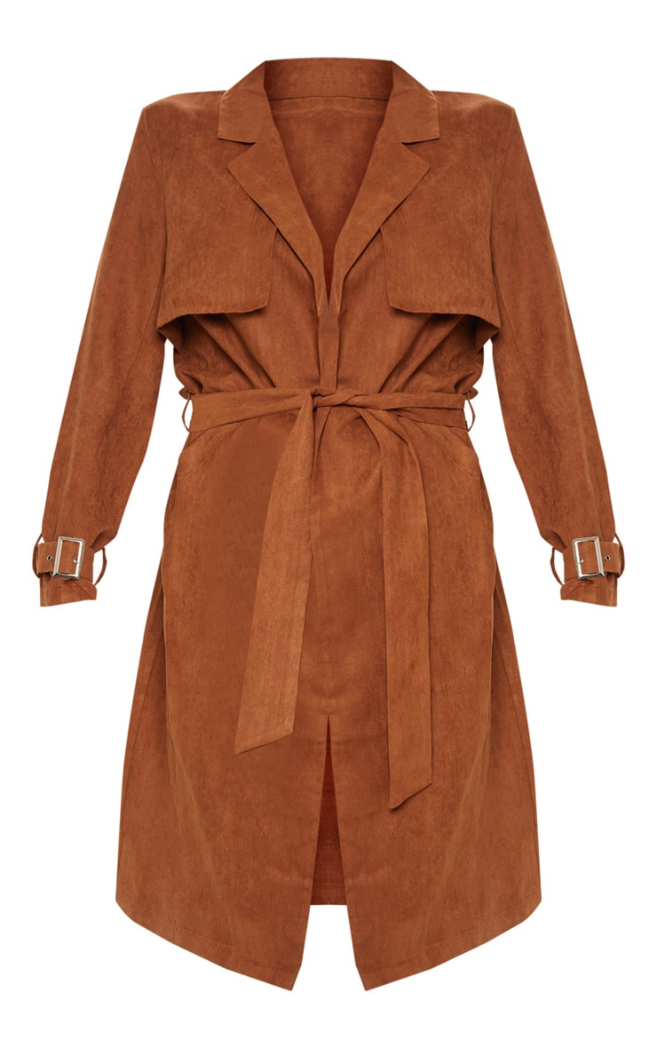 Brown Faux Suede Trench  3