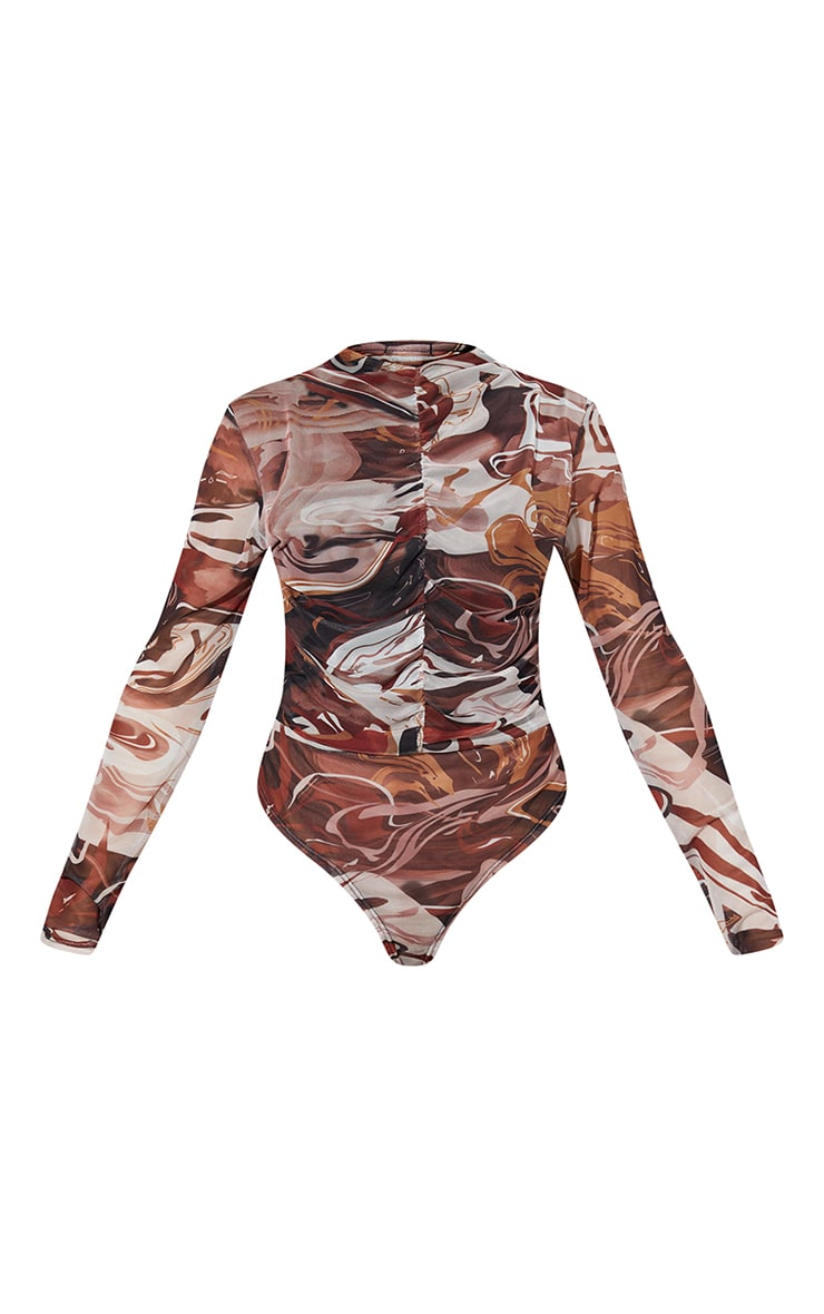 Brown Abstract Swirl Printed Mesh Ruched Front Long Sleeve Bodysuit 5
