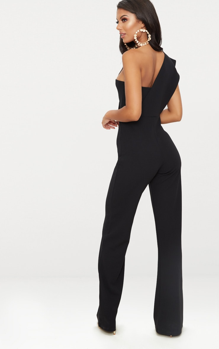 Black Drape One Shoulder Jumpsuit 2