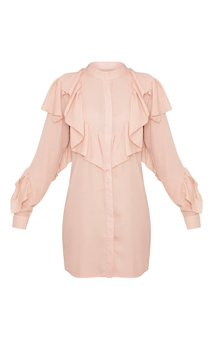 Jezmeena Dusty Pink Frill Detail Shirt Dress 3