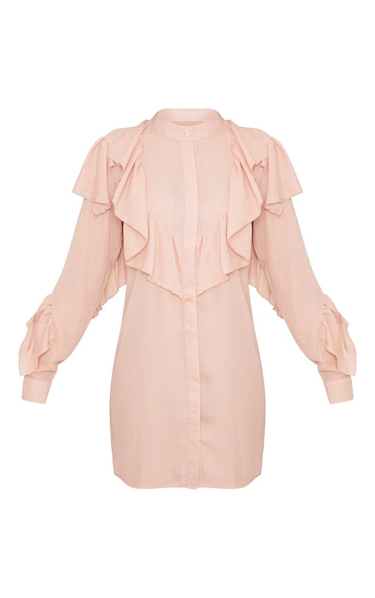 Jezmeena Dusty Pink Frill Detail Shirt Dress  3