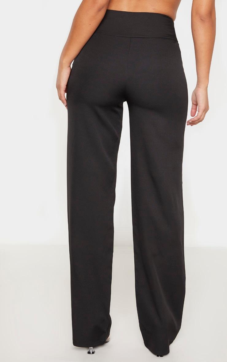 Black Woven High Waist Lace Up Straight Leg Pants 4