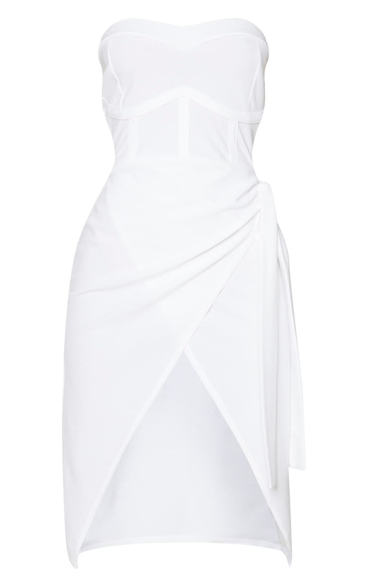 White Binding Detail Tie Wrap Bandeau Midi Dress 5