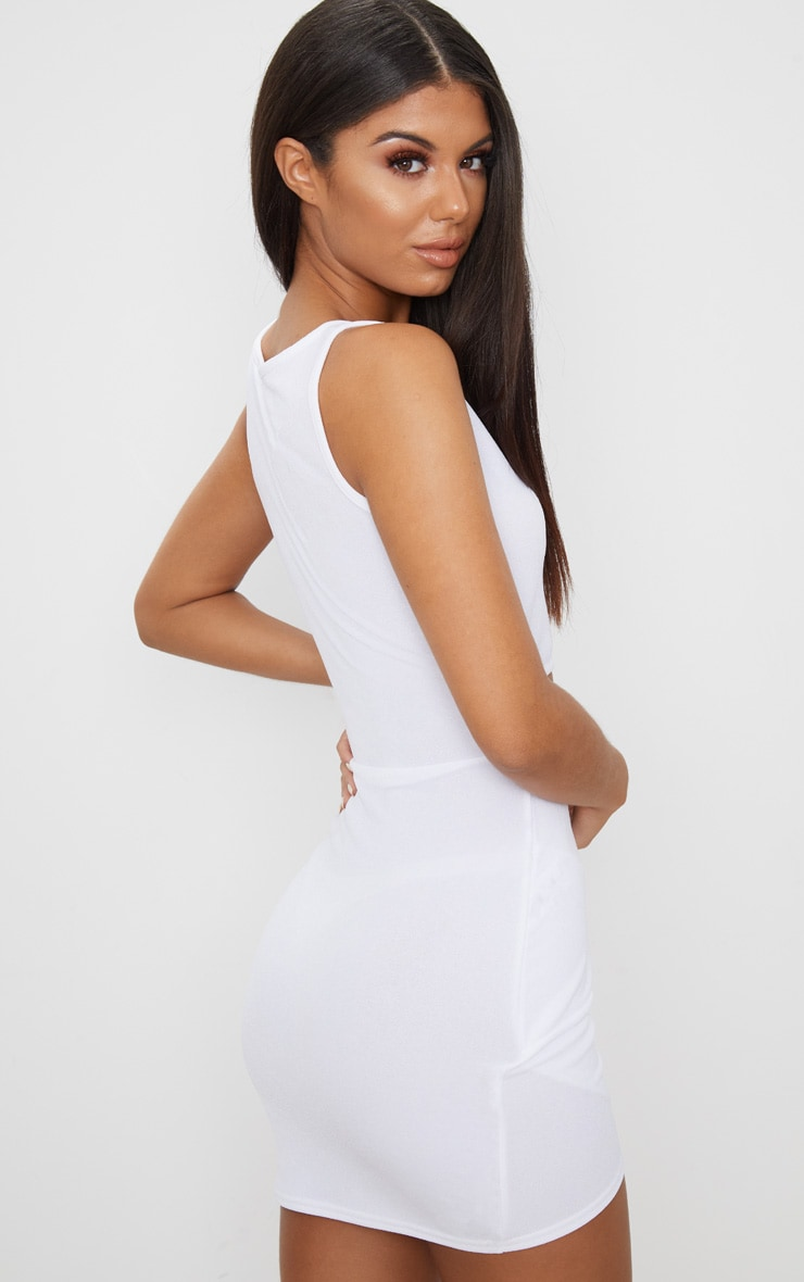 White Cut Out Detail Wrap Skirt Bodycon Dress 2