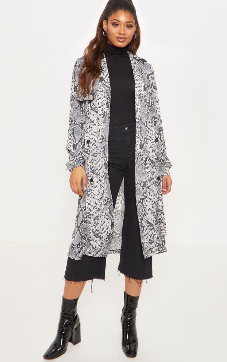 Tall Grey Snake Print Trench Coat 1