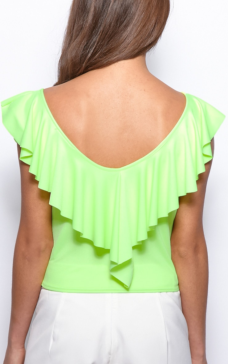 Sylvia Neon Lime Frill Crop Top 2
