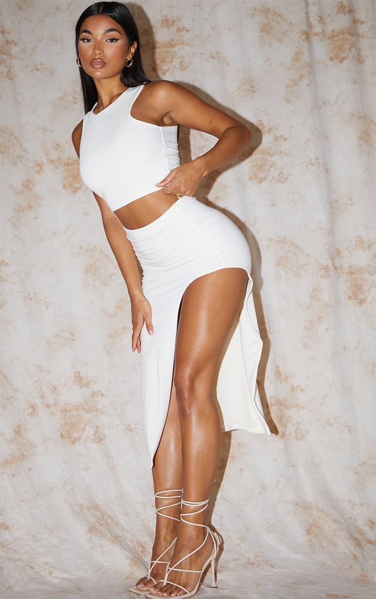 Recycled Cream Contour Jersey Curved Hem Midaxi Skirt 1
