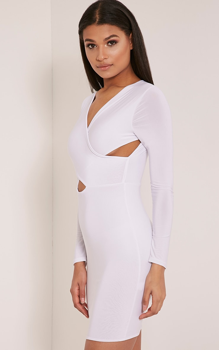 Tamaya White Long Sleeve cross front Bodycon Dress 4
