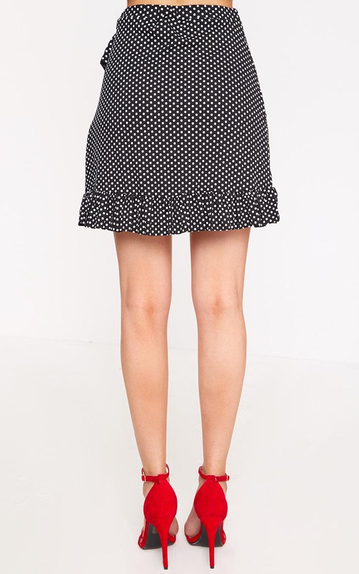 Black Polka Dot Frill Wrap Mini Skirt 4