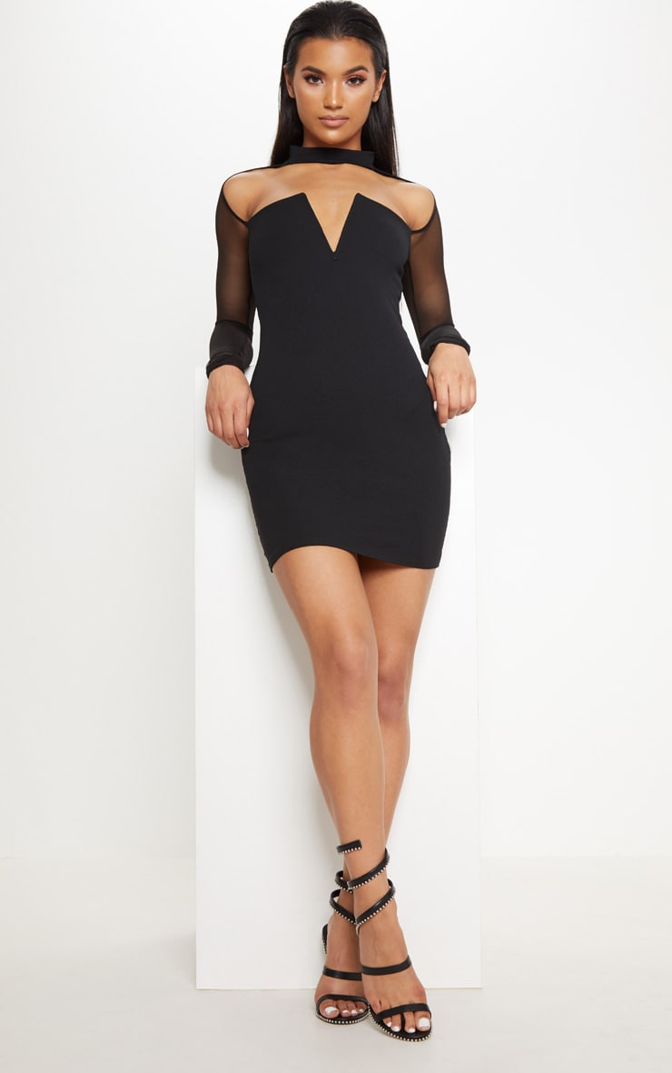 Black Choker Neck Mesh Sleeve V Plunge Bodycon Dress 4