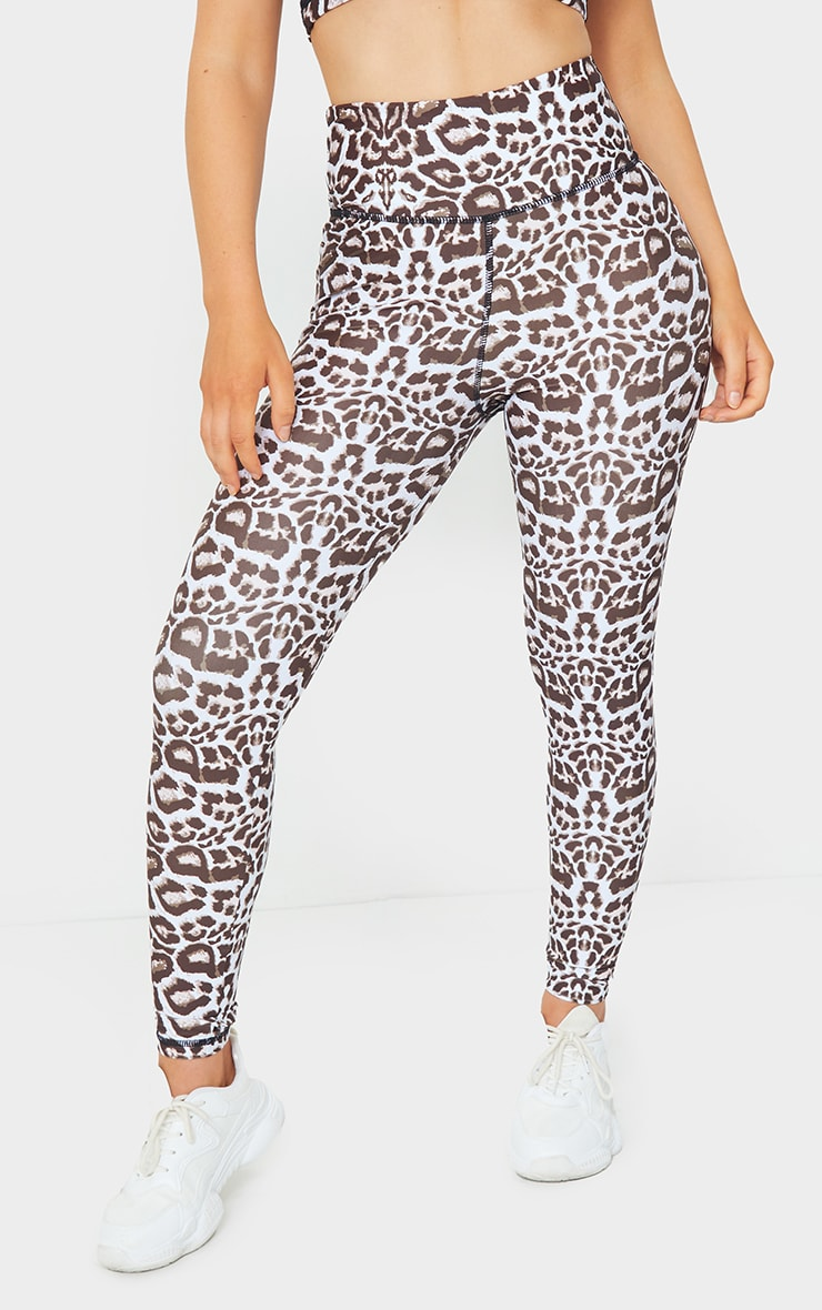 Brown Leopard High Waist Gym Leggings 2