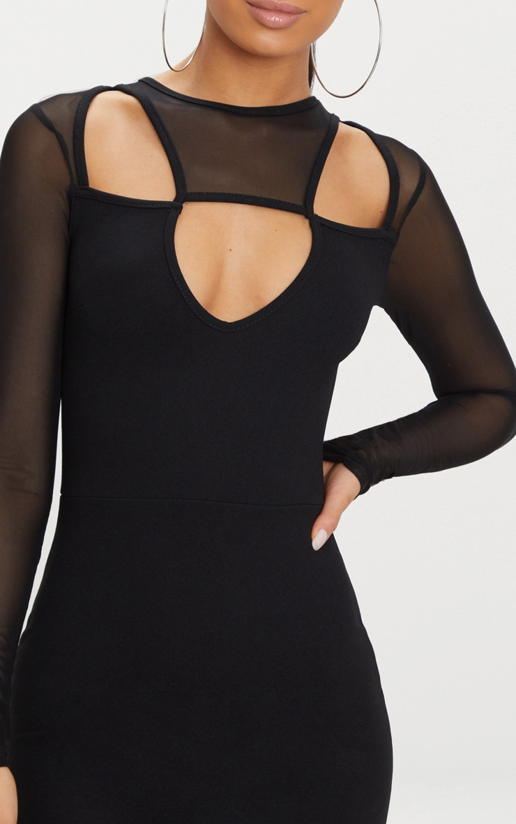 Black Mesh Sleeve Cut Out Detail Bodycon Dress 5