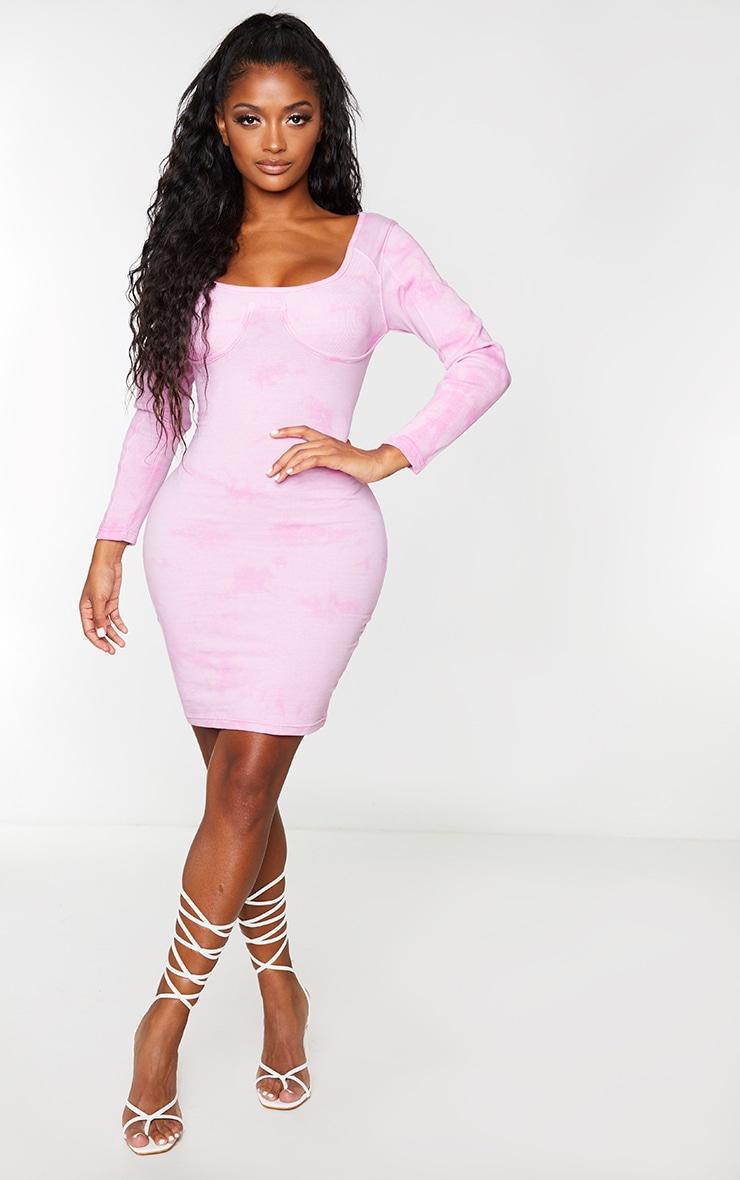 Shape Pink Tie Dye Cotton Cup Detail Bodycon Dress 1