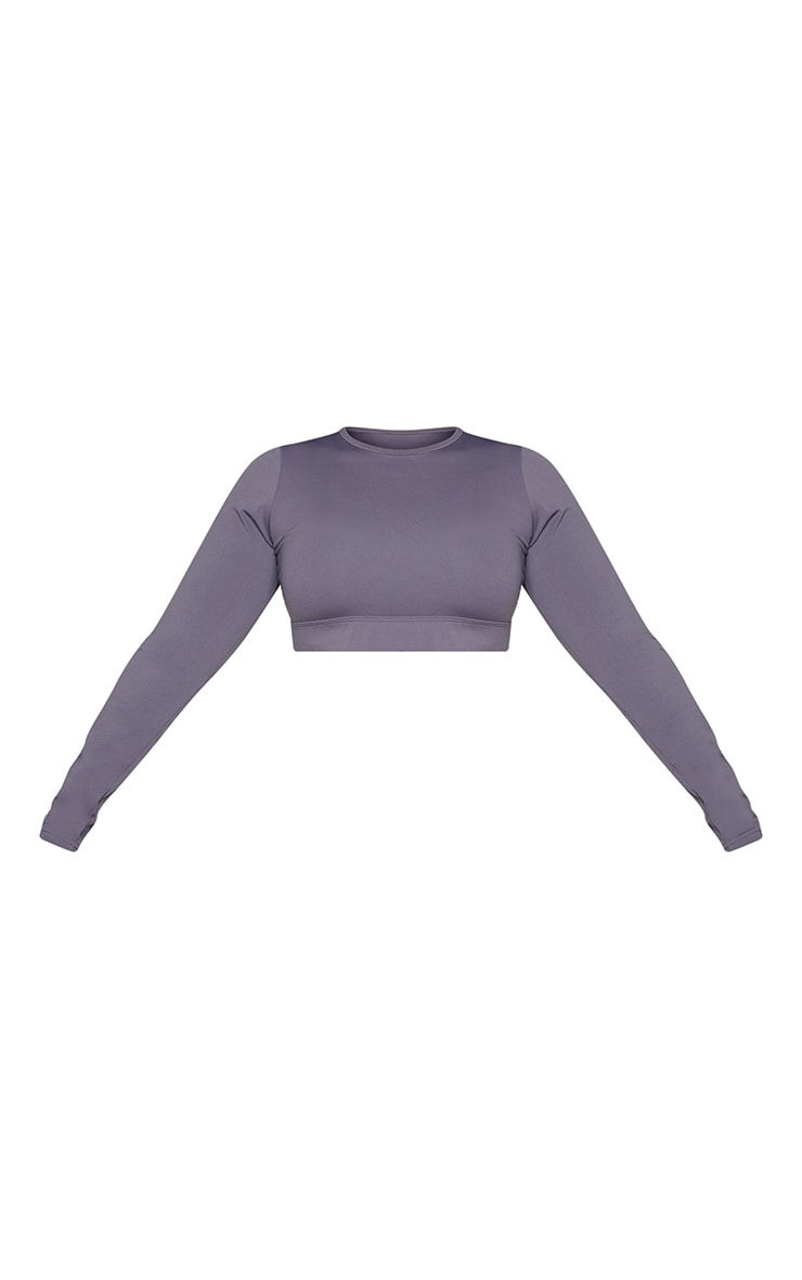 Plus Dark Grey Sculpt Luxe Long Sleeve Sports Top 5