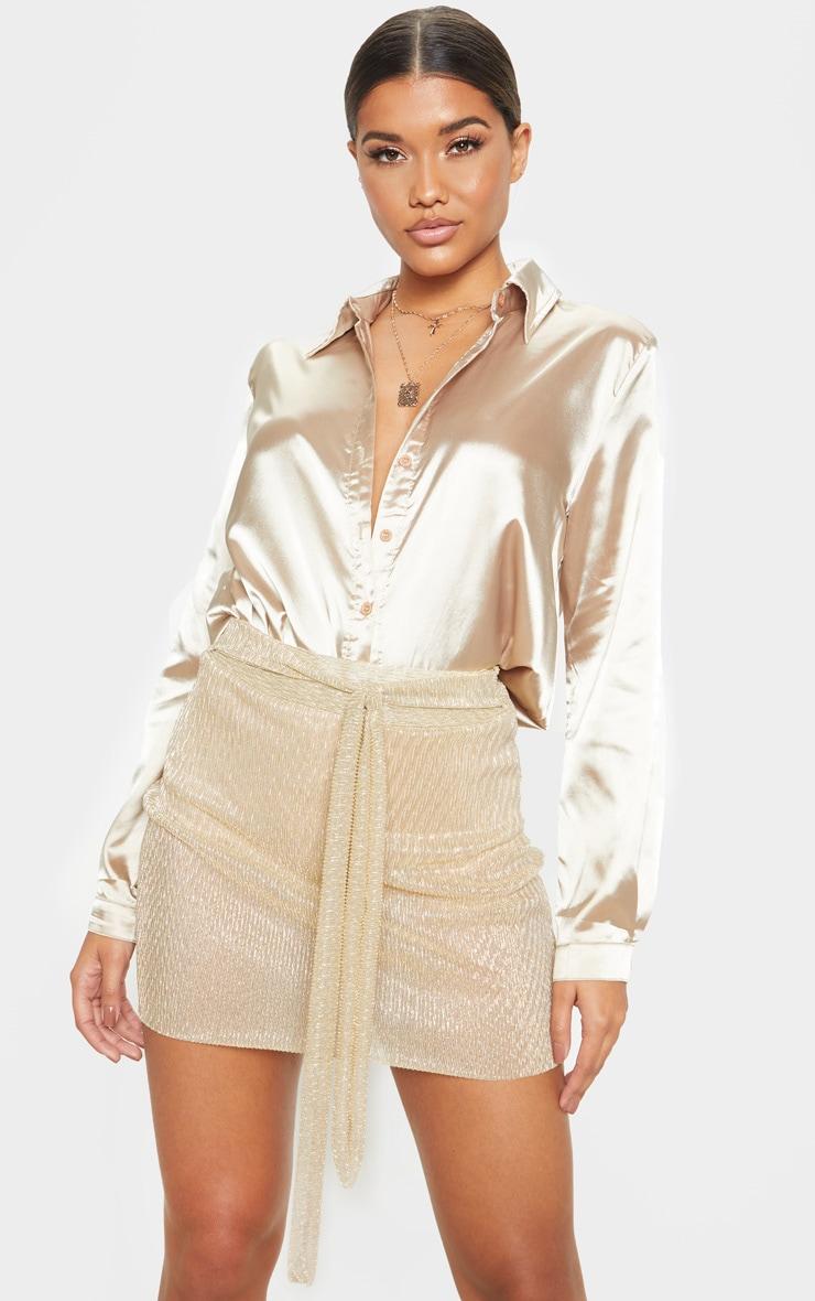 Gold Plisse Tie Waist Mini Skirt  1