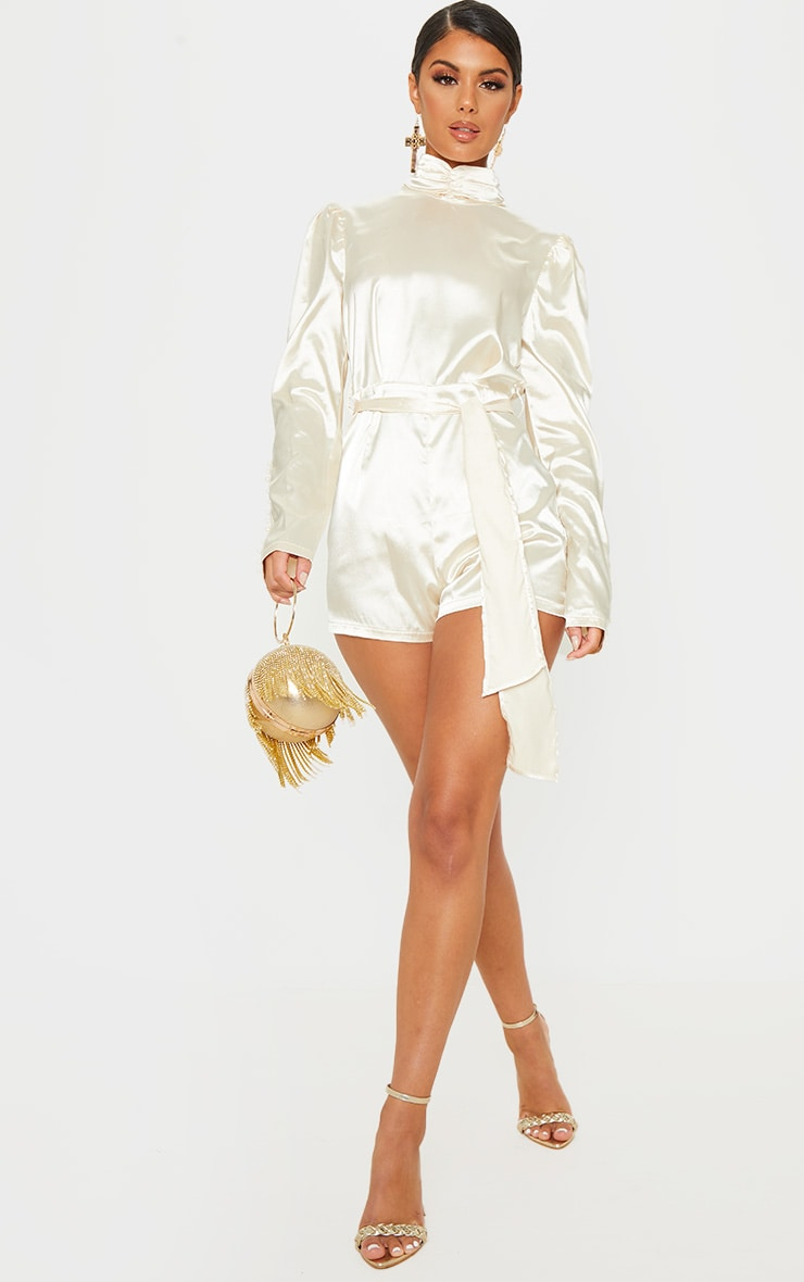Champagne High Neck Open Back Satin Playsuit 4