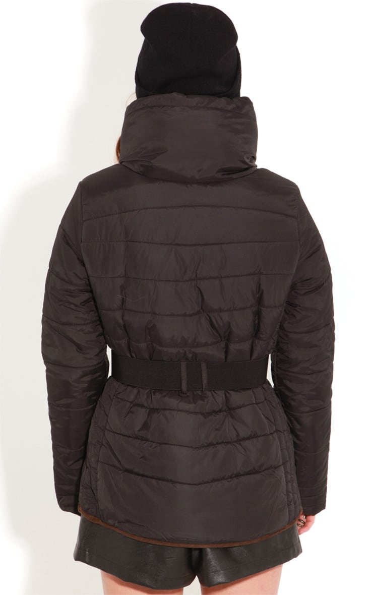 Connie Black Padded Coat With Belt 2