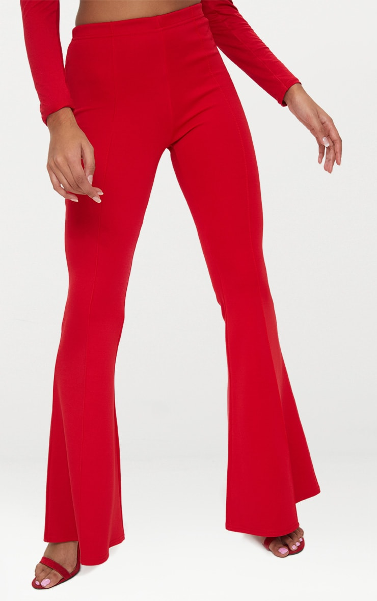 Petite Red High Waist Extreme Flare Trousers 5