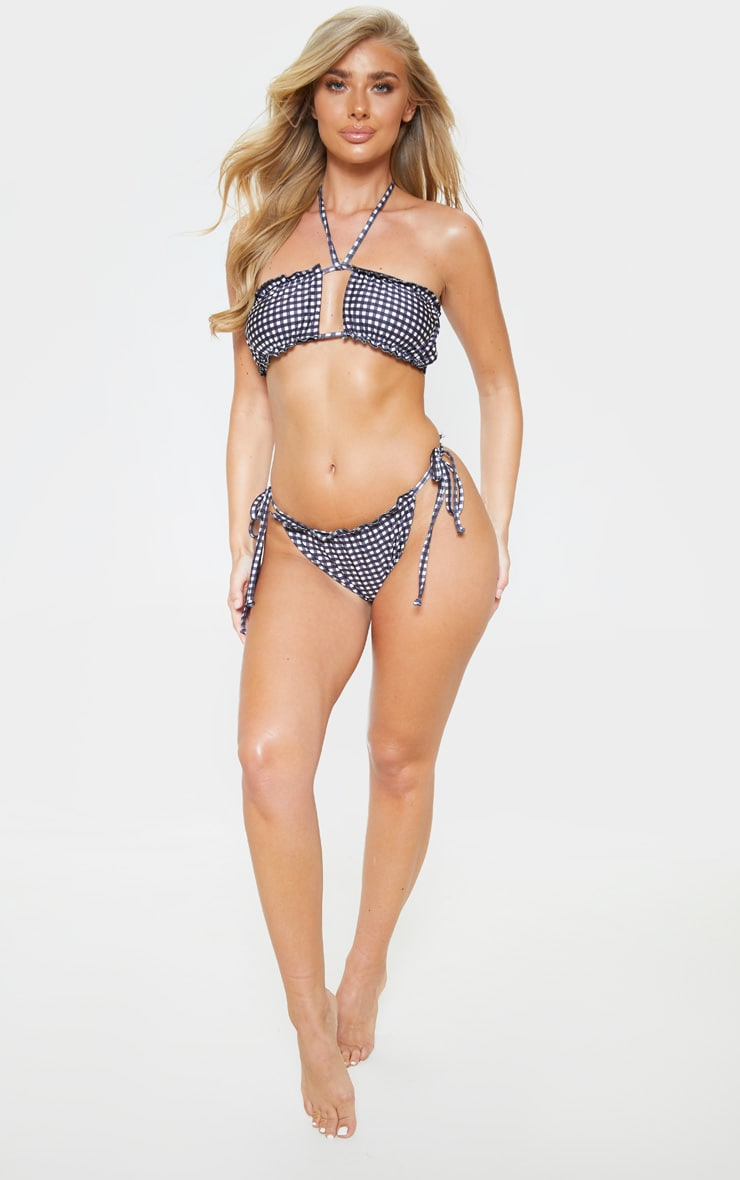 Black And White Gingham Ruched Frill Top Bikini Bottom 5