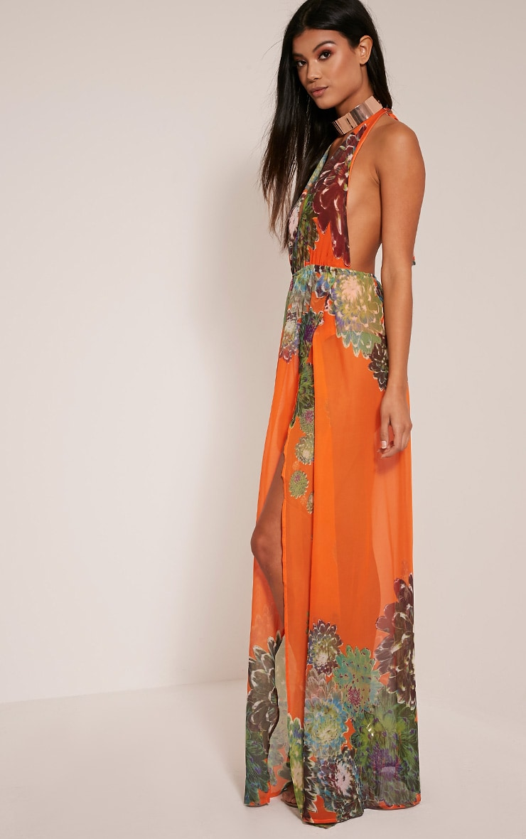 Alina Bright Orange Tropical Print Plunge Maxi Dress 5