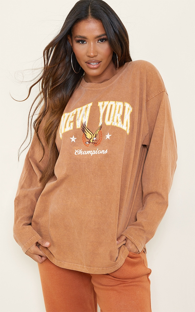 Rust New York Champion Washed Long Sleeve T Shirt 1