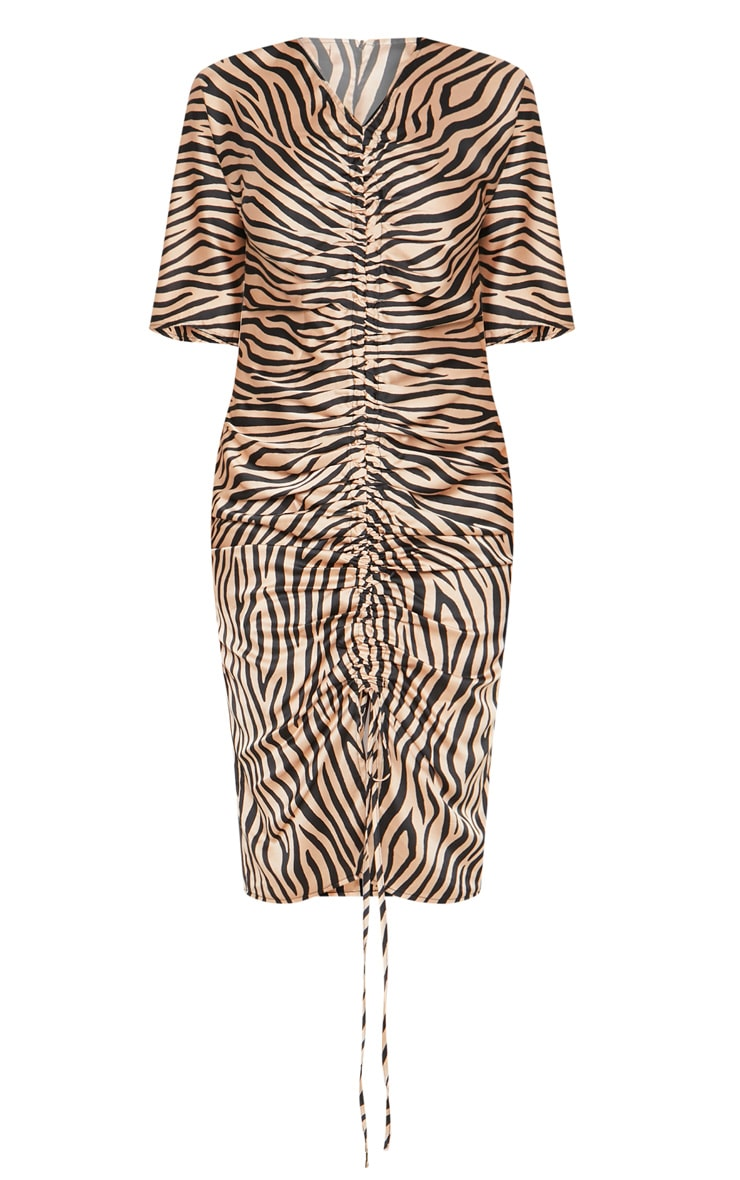 Tiger Print Ruched Front Midi Dress 3