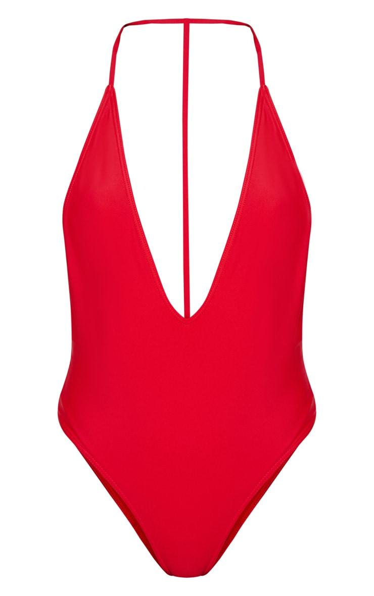 Cindi maillot de bain plongeant dos en T rouge 3