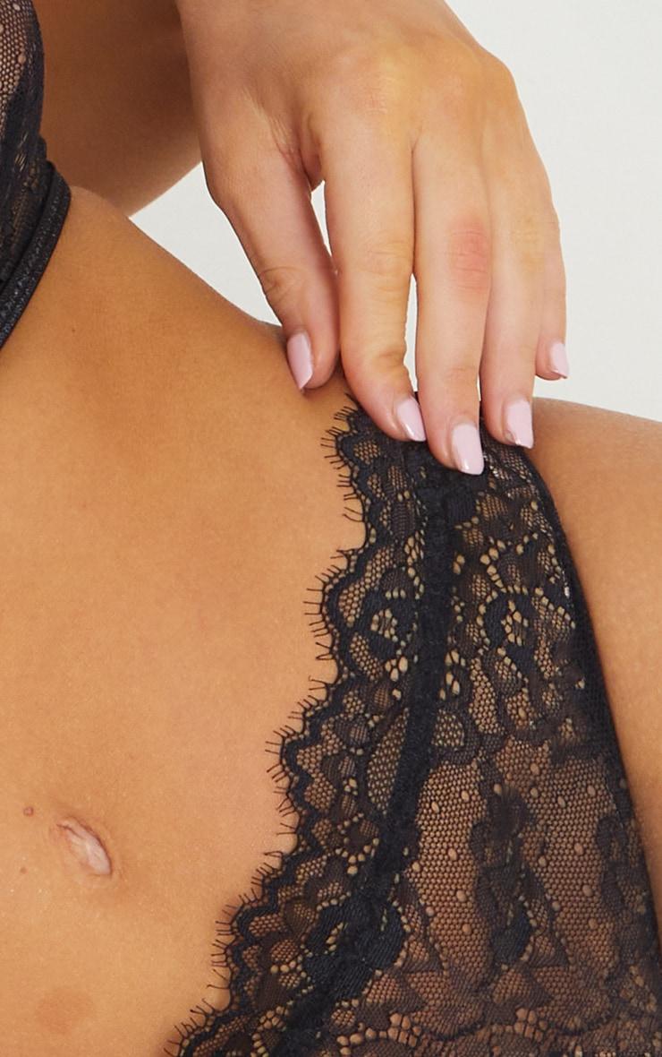 Black High Waisted Lace Trim Waistband Thong 4