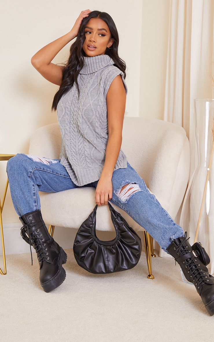 Petite Grey Longline Sleeveless Cable Roll Neck Sweater 3
