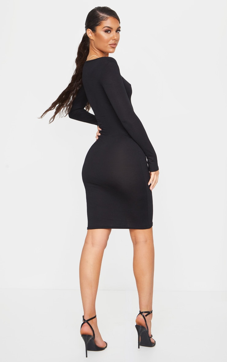 Black Jersey V Neck Long Sleeve Midi Dress 2