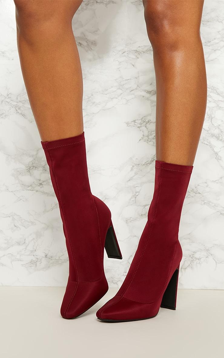 Burgundy Lycra Heeled Sock Boot 2